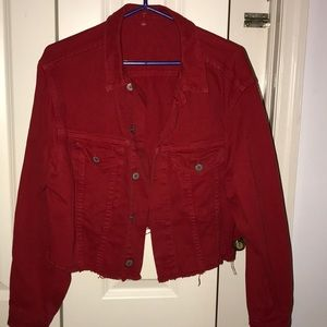 Brandy Melville red Betsy cropped jacket